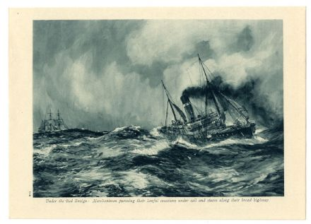 1916 WW1Print WAR AT SEA Merchantman Ship BATTLESHIP Gaulois MEDITERRANEAN